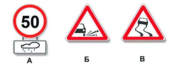 Какие из указанных знаков распространяют свое действие только на период времени, когда покрытие проезжей части влажное