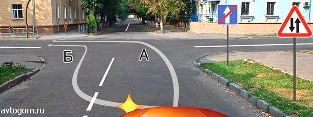 По какой траектории Вам разрешается выполнить поворот налево