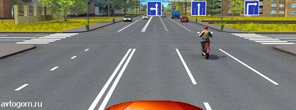 Вам можно продолжить движение по крайней левой полосе на легковом автомобиле