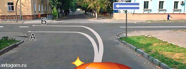 картинка вопроса По какой траектории Вам разрешается выполнить поворот налево