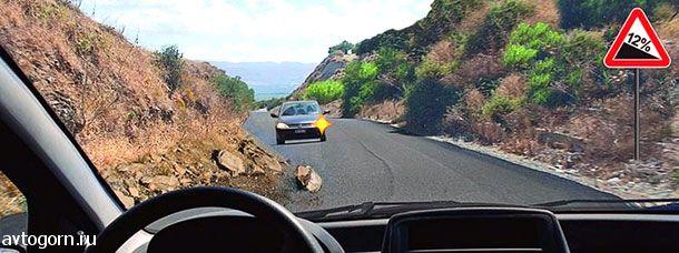 В данной ситуации Вы должны уступить дорогу, так как встречный автомобиль движется на подъем.