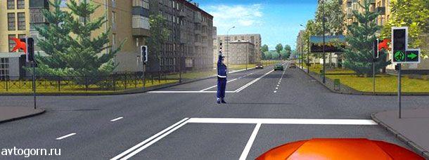 картинка вопроса При таких сигналах светофора и жесте регулировщика Вы должны