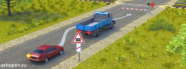Разрешается ли водителю выполнить объезд грузового автомобиля перед железнодорожным переездом