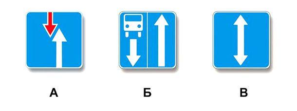 Какой из указанных знаков информирует о начале дороги с реверсивным движением