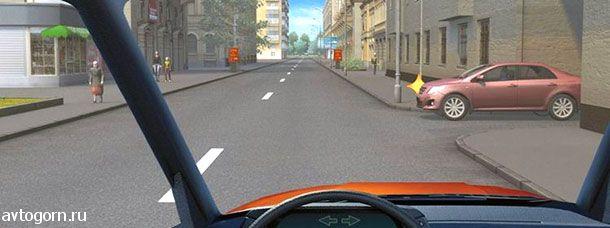 В каком месте Вам следует поставить автомобиль на стоянку с правой стороны дороги