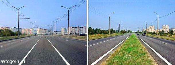 На каком рисунке изображена дорога с разделительной полосой