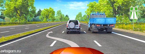 Можно ли Вам, управляя грузовым автомобилем, осуществить опережение в данной ситуации