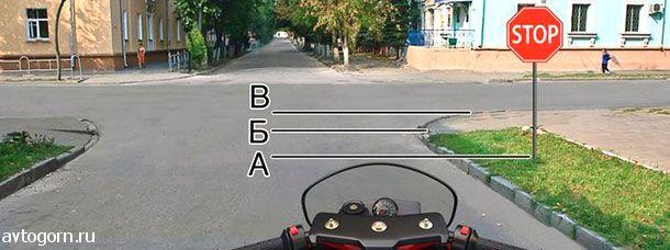 Где Вы должны остановиться на перекрестке при наличии знака движение без остановки запрещено