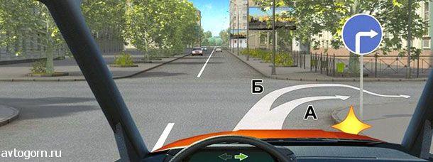 Вам разрешено выполнить поворот направо