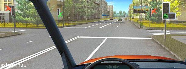 О чем информируют Вас стрелки на зеленом сигнале светофора