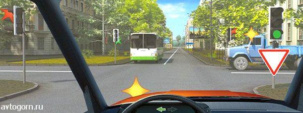 Как Вам следует поступить при повороте налево?