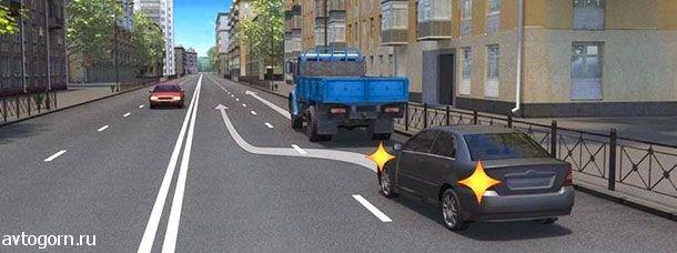 Какой маневр намеревается выполнить водитель легкового автомобиля