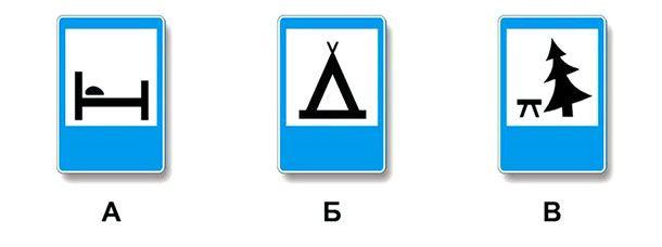 Какие из указанных знаков используются для обозначения кемпинга