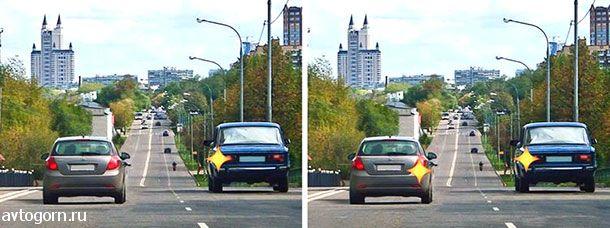 Ситуация, в которой водитель транспортного средства, движущегося по правой полосе, обязан уступить дорогу при перестроении, показана