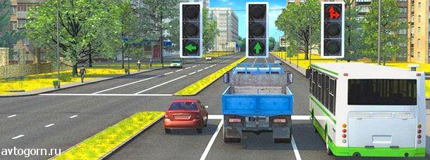 Каким транспортным средствам разрешено движение прямо