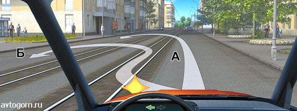 При наличии слева трамвайных путей Вам можно выполнить разворот